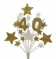 Number age 40th birthday cake topper decoration in gold and white - free postage